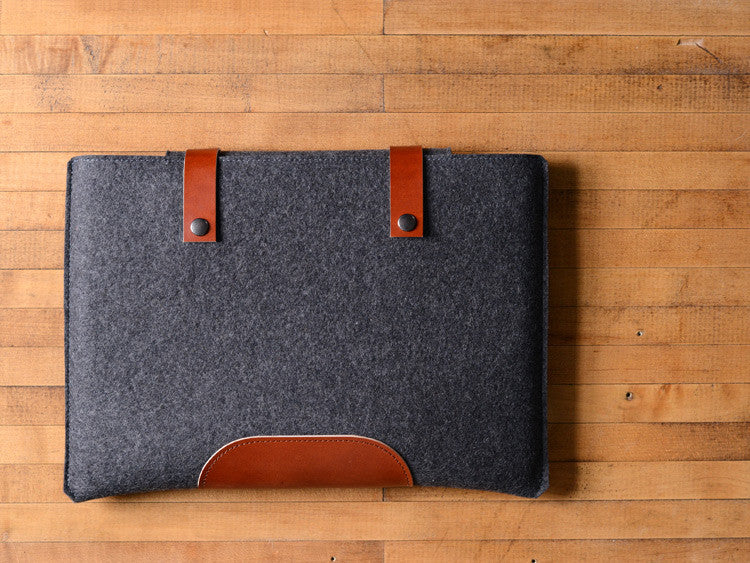 MacBook Pro Sleeve - Charcoal Gray Felt & Brown Leather Patch, Straps