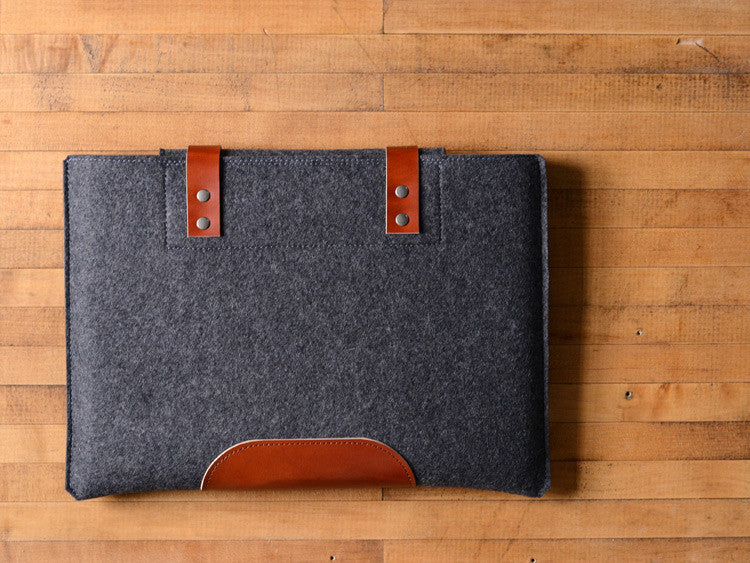 MacBook Pro Sleeve - Charcoal Grey Felt & Brown Leather Patch, Straps