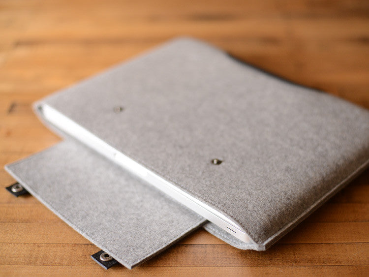 MacBook Pro Sleeve - Grey Felt & Black Leather Patch, Straps by byrd & belle