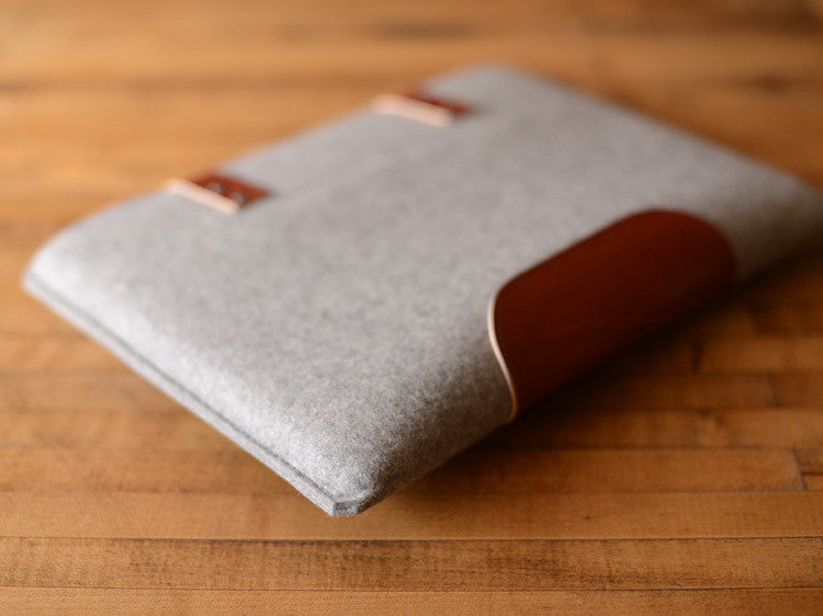 MacBook Pro Sleeve - Grey Wool Felt & Brown Leather Patch, Straps by byrd & belle