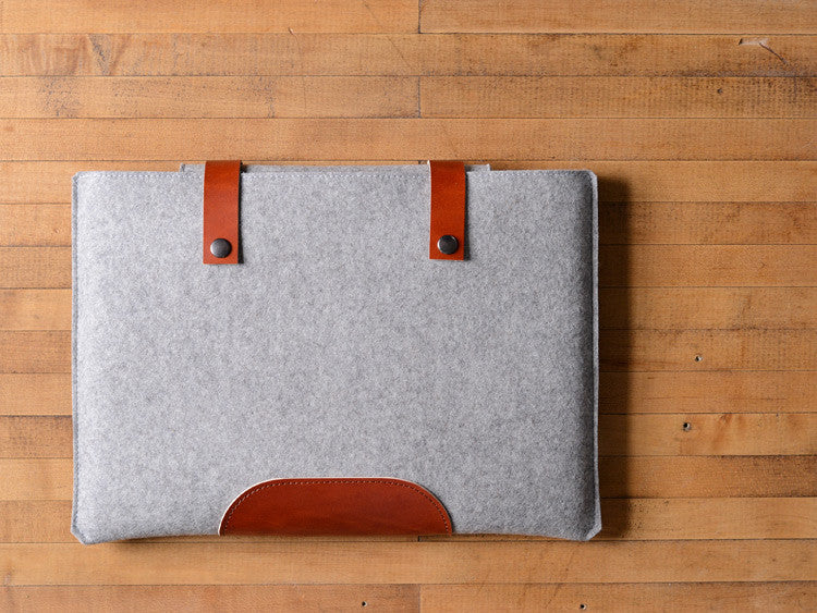 MacBook Pro Sleeve - Grey Felt & Brown Leather Patch, Straps by byrd & belle