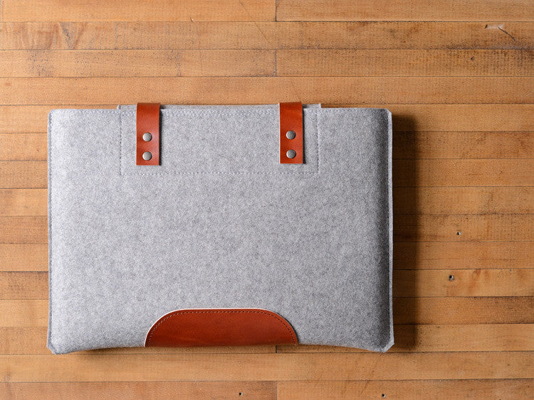 MacBook Pro Sleeve - Gray Felt & Brown Leather Patch, Straps by byrd & belle
