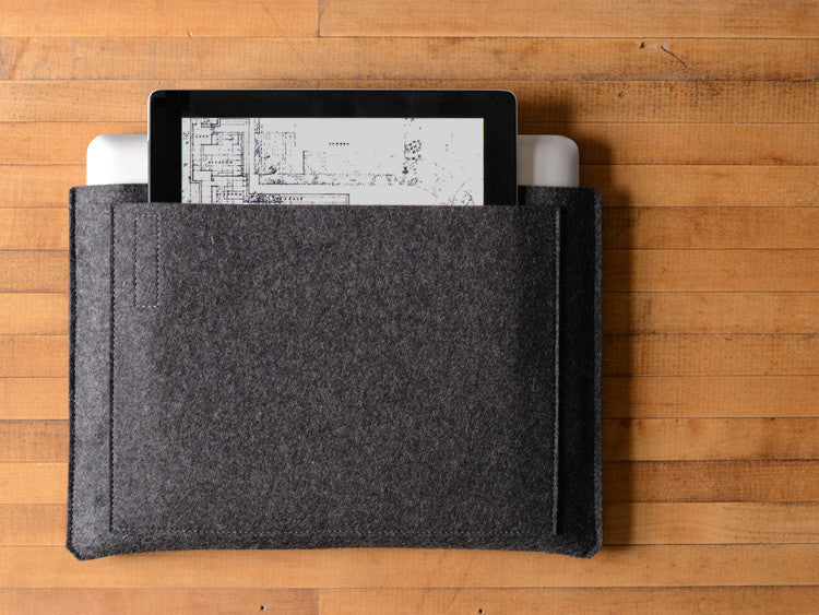 MacBook Pro/Air Carryall Bag Liner - Charcoal Gray Felt by byrd & belle
