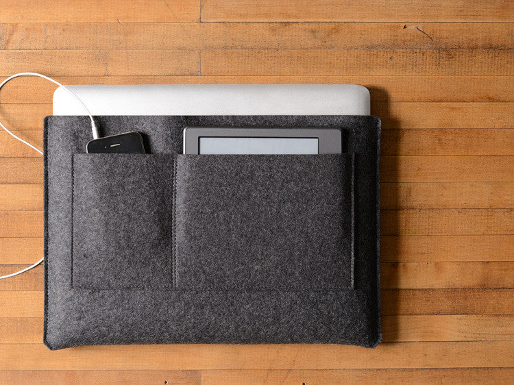 MacBook Pro/Air Carryall Bag Liner - Charcoal Felt by byrd & belle
