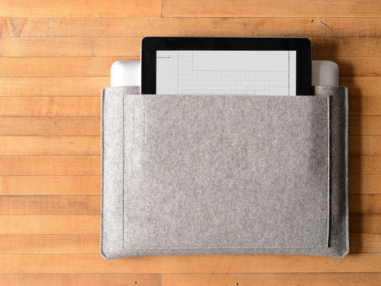 MacBook Pro/Air Carryall Bag Liner - Gray Felt by byrd & belle