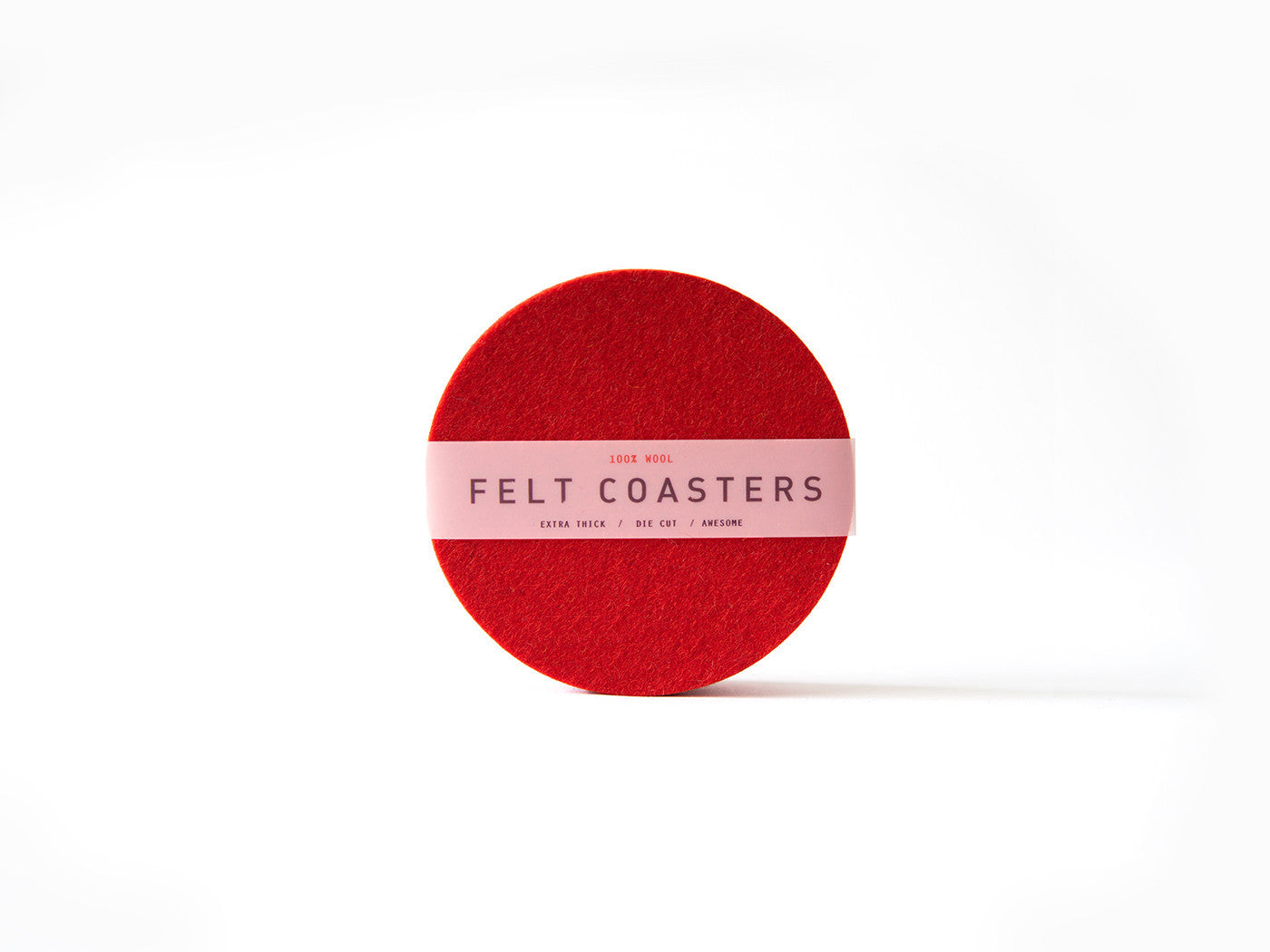 Swiss Red wool felt coaster main-slider