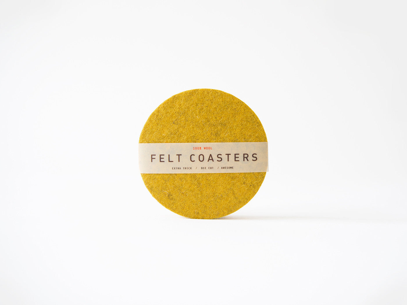 Mustard Yellow wool felt coaster main-slider