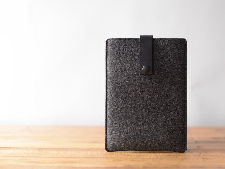 iPad Mini Sleeve Charcoal Felt & Black Leather Strap by byrd & belle