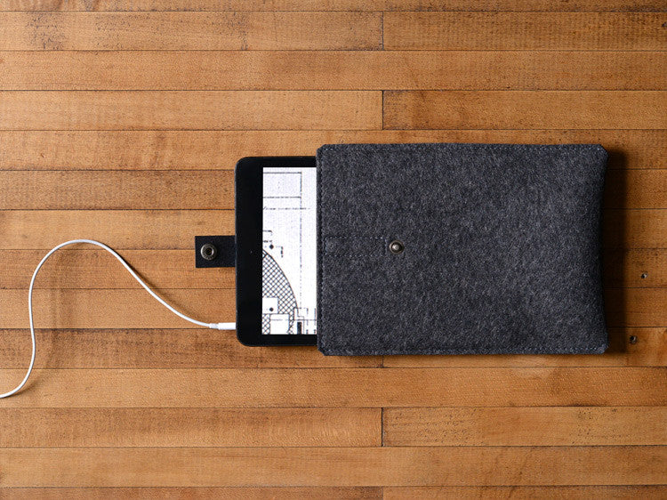 iPad Mini Sleeve Charcoal Gray Felt & Black Leather Strap by byrd & belle
