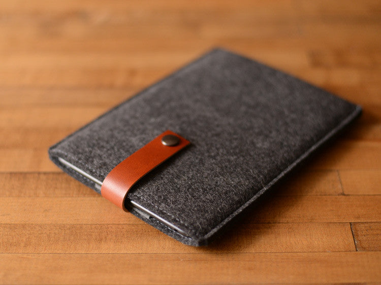 iPad Mini Sleeve Charcoal Grey Felt & Brown Leather Strap by byrd & belle
