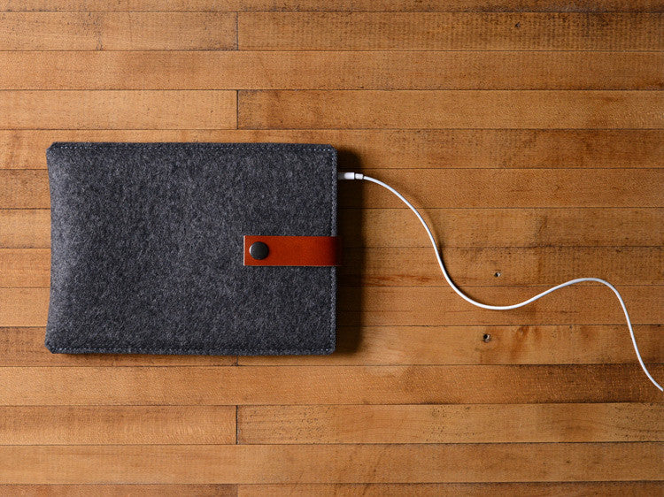 iPad Mini Sleeve Charcoal Felt & Brown Leather Strap by byrd & belle