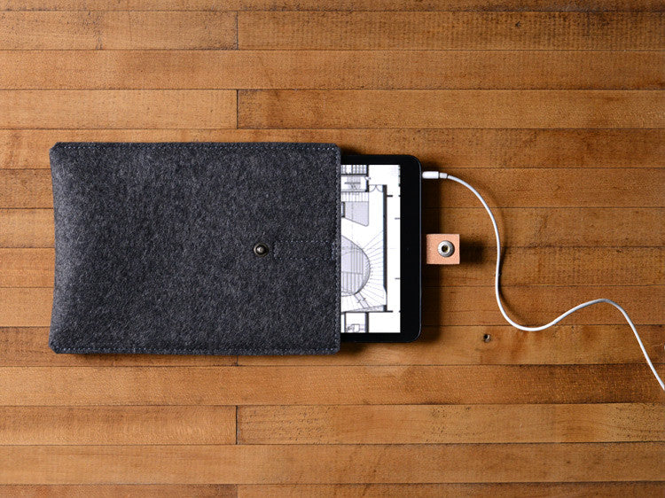 iPad Mini Sleeve Charcoal Gray Felt & Brown Leather Strap by byrd & belle