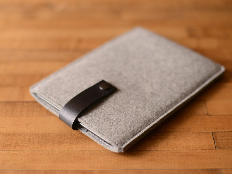 Kindle Paperwhite, Kindle Fire, Sleeve -  Gray Felt & Black Leather Strap by byrd & belle