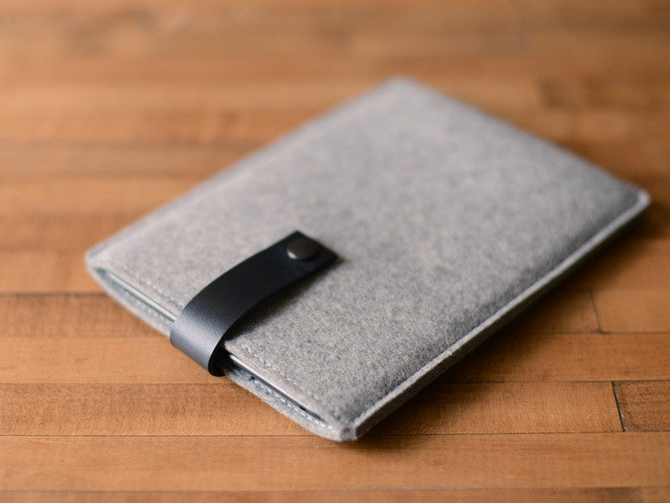 iPad Mini Sleeve - Grey Felt & Black Leather Strap