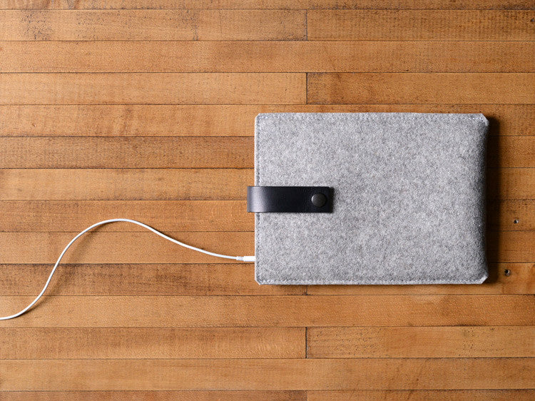 iPad Mini Sleeve Grey Felt & Black Leather Strap by byrd & belle