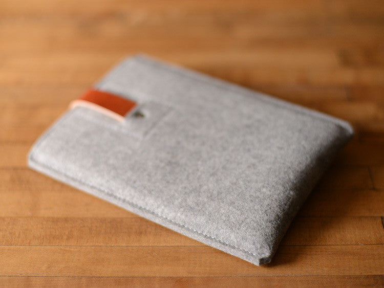 iPad Mini Sleeve Grey Felt & Brown Leather Strap by byrd & belle