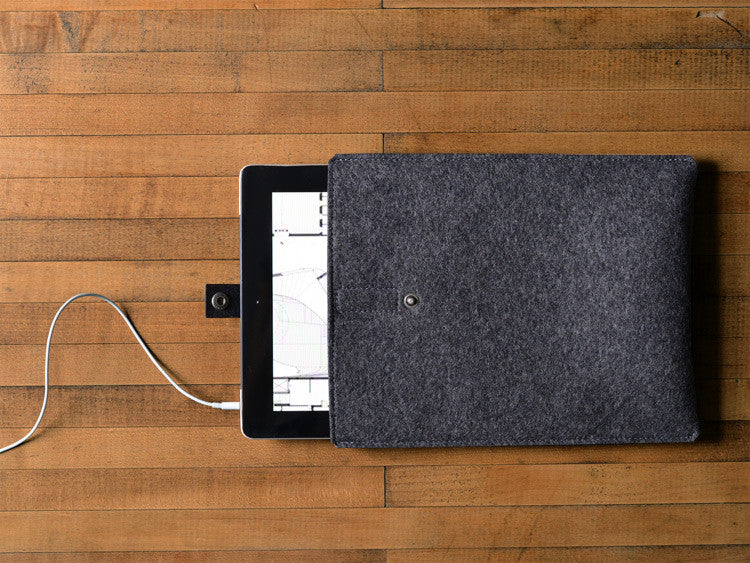 iPad Sleeve - Charcoal Felt & Black Leather Strap by byrd & belle