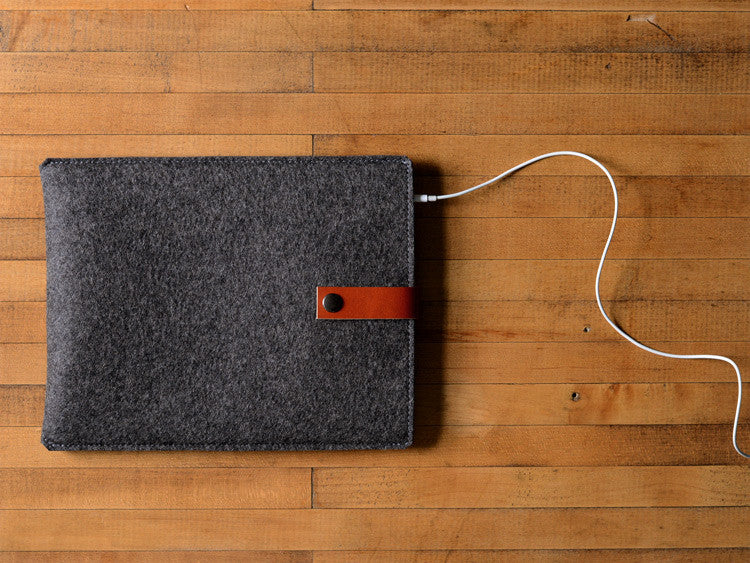 iPad Sleeve Charcoal Gray Felt & Brown Leather Strap by byrd & belle