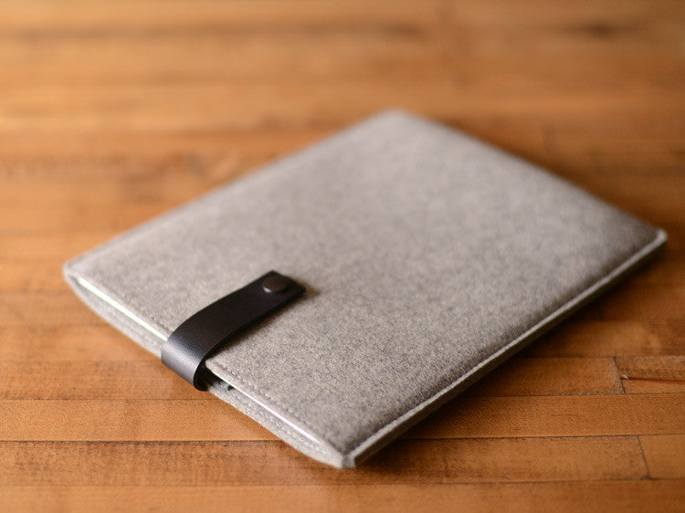 iPad Sleeve - Grey Felt & Black Leather Strap by byrd & belle