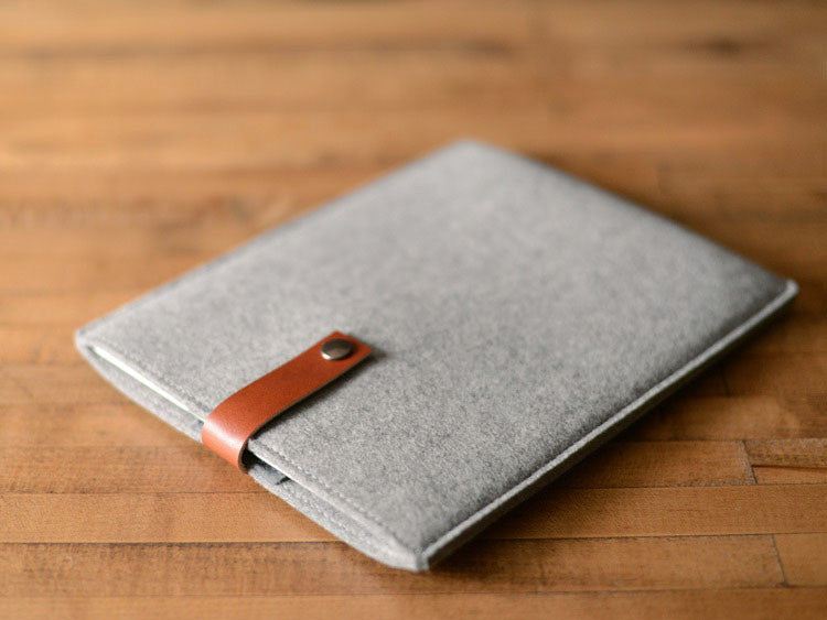 iPad Sleeve - Grey Felt & Brown Leather Strap