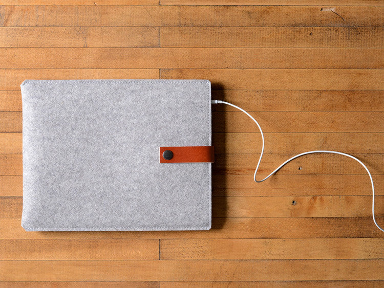 iPad Sleeve - Grey Felt & Brown Leather Strap by byrd & belle