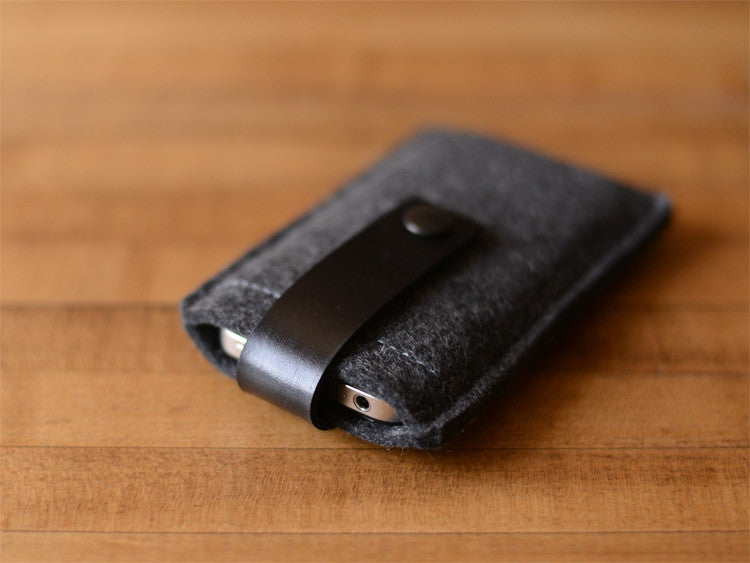 iPhone iPod Case Charcoal wool Felt & Black Leather Strap