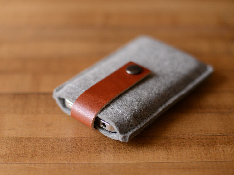iPhone iPod Case Grey Felt & Brown Leather Strap by byrd & belle