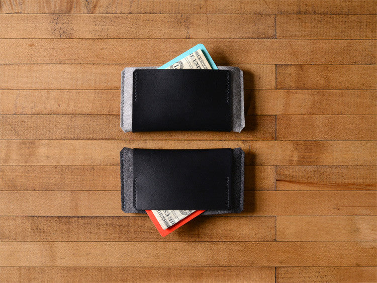 iPhone Wallet  grey gray charcoal Felt & Black Leather by byrd & belle