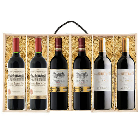 Christmas Claret Bordeaux Wood 6 Bottle Selection