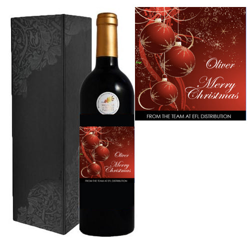 Personalised Merry Christmas Single Bottle Gift Box