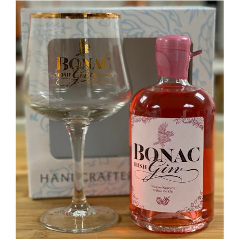 Bonac Irish Gin Raspberry & Rose 50cl Bottle With Glass
