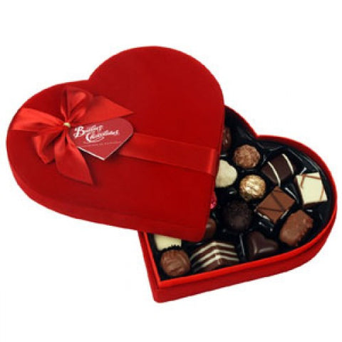 Red Velvet Keepsake Heart Box With 16 Chocolates