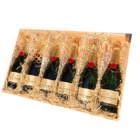 Moet & Chandon Brut 6 Btl Wooden Gift Case