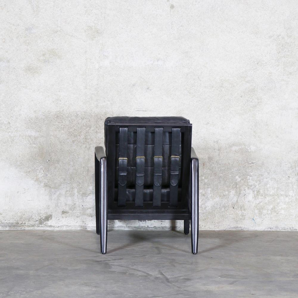 wood and leather chair. Reid Leather Chair Antique Black Wood And