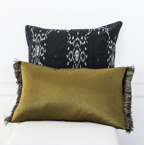 Cushion Olive Finge Silk Linen Olive