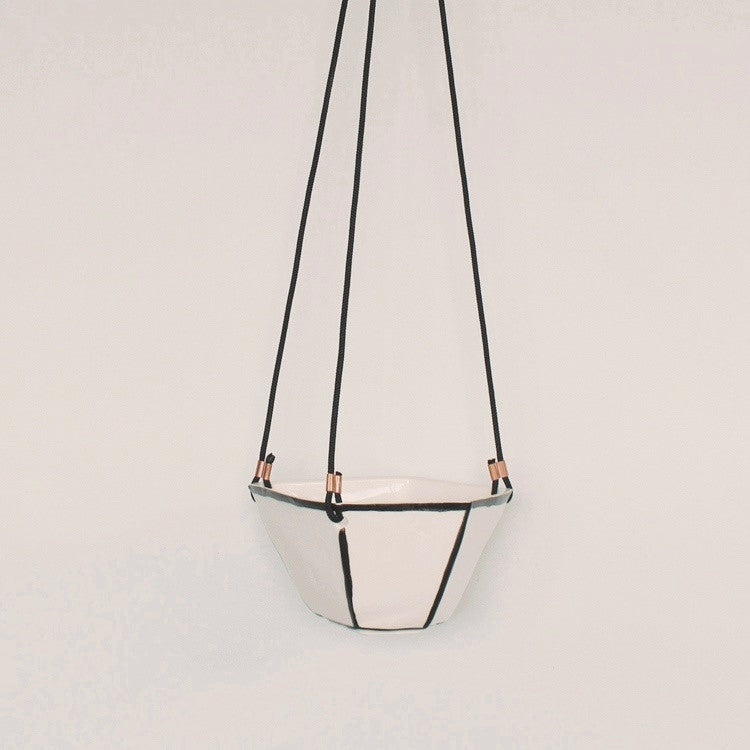 Black White Faceted Hanging Planter
