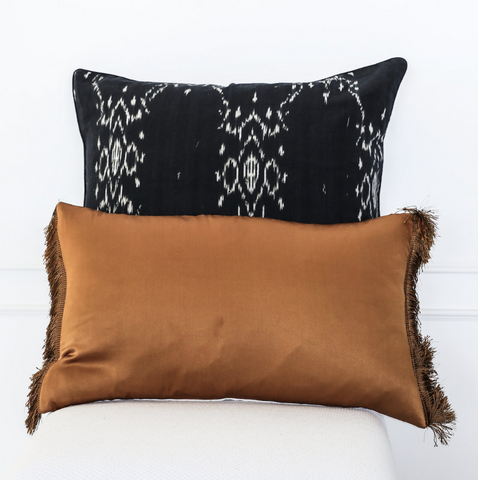 Cushion Rust Fringe Silk Linen Rust