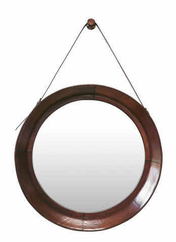 Leather Large Hanging Mirror Chestnut