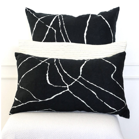 Cushion Berber Trail Black Linen