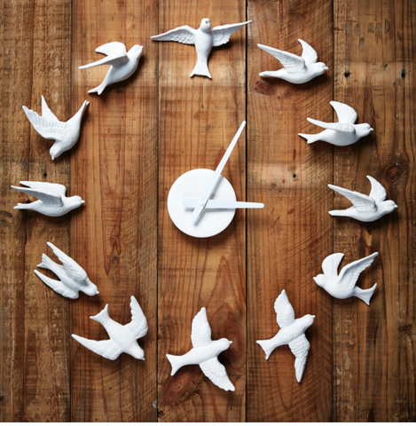 Porcelain Bird Clock White DISCONTINUED