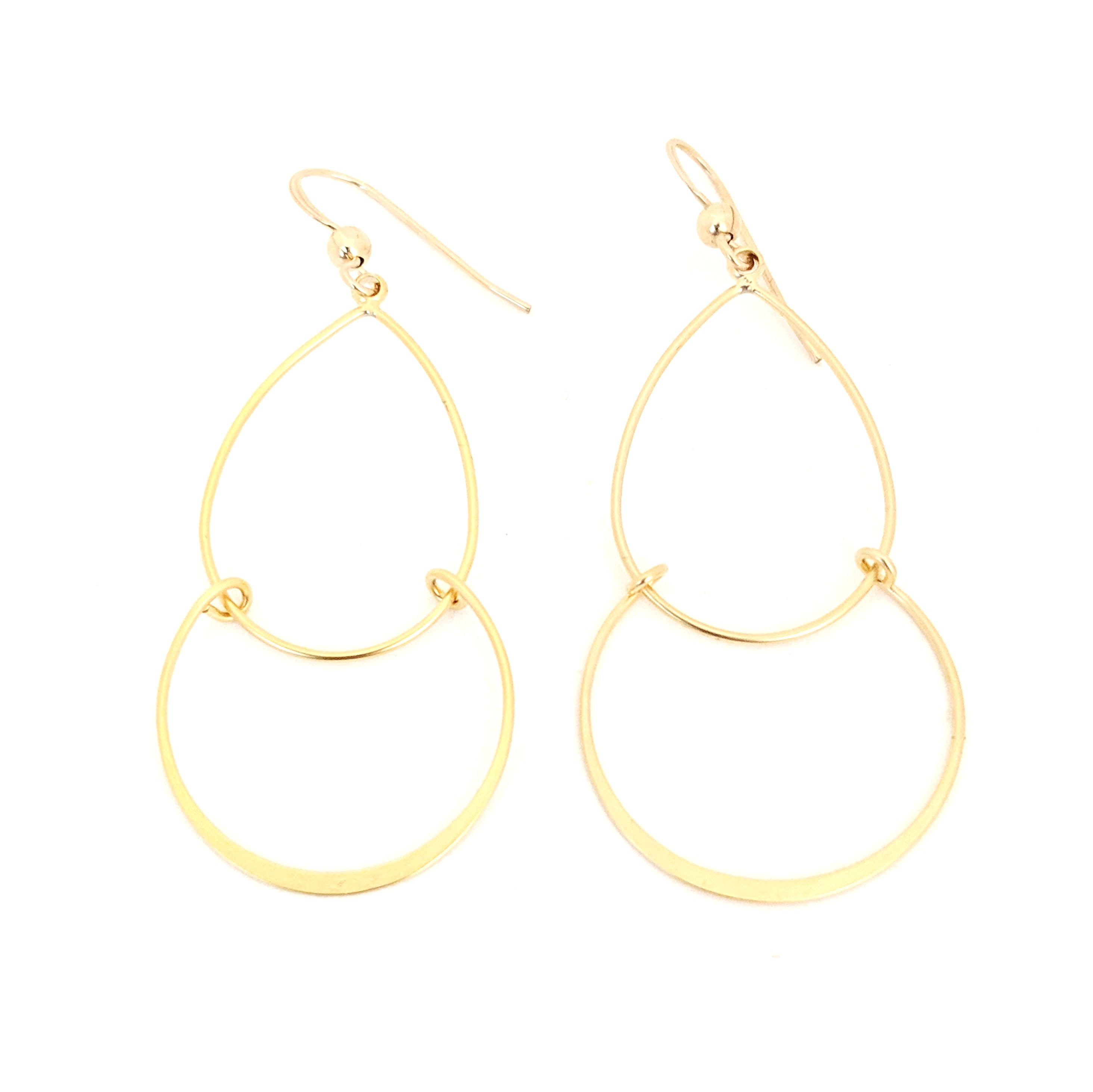 Double Teardrop Gold Earrings