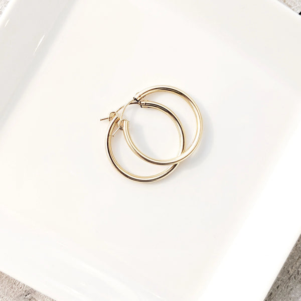 Gold Featherweight Hoops