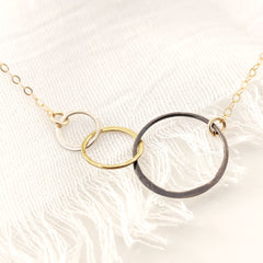 Mixed Metal Marais Circle Link Necklace