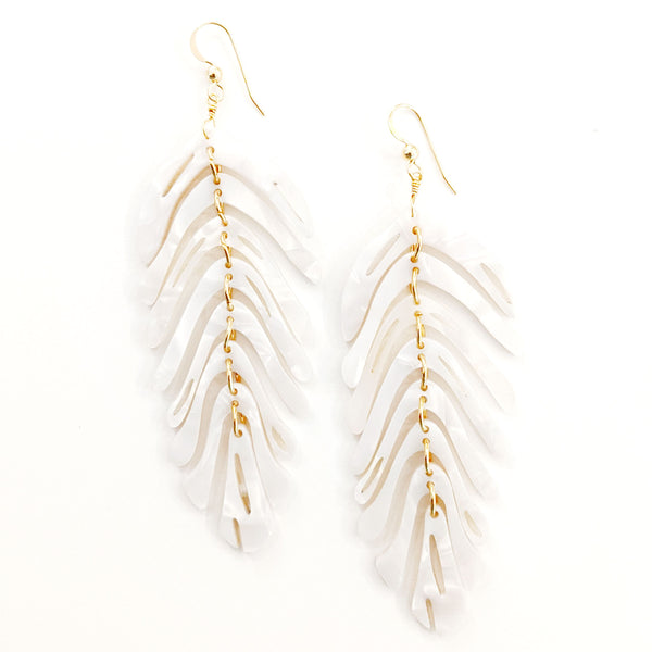 Leaf Earrings- Crema