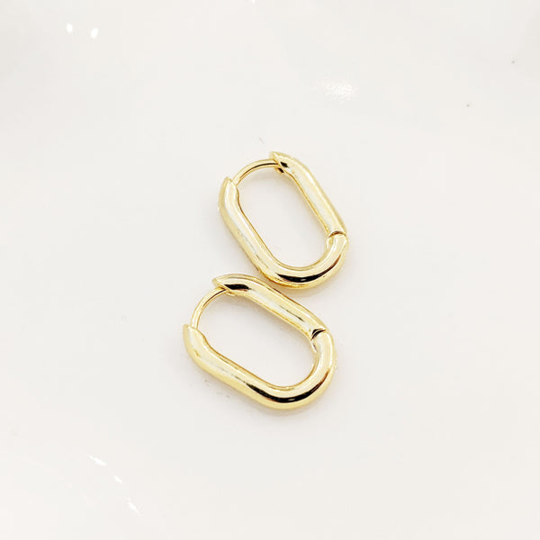 Hoop Earrings - Olia Oval Hoops - Hugger Earrings
