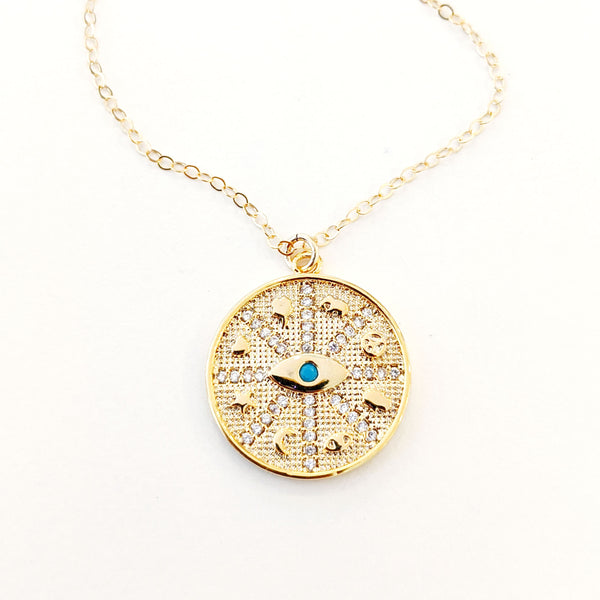 Evil Eye Pavé Disk Necklace