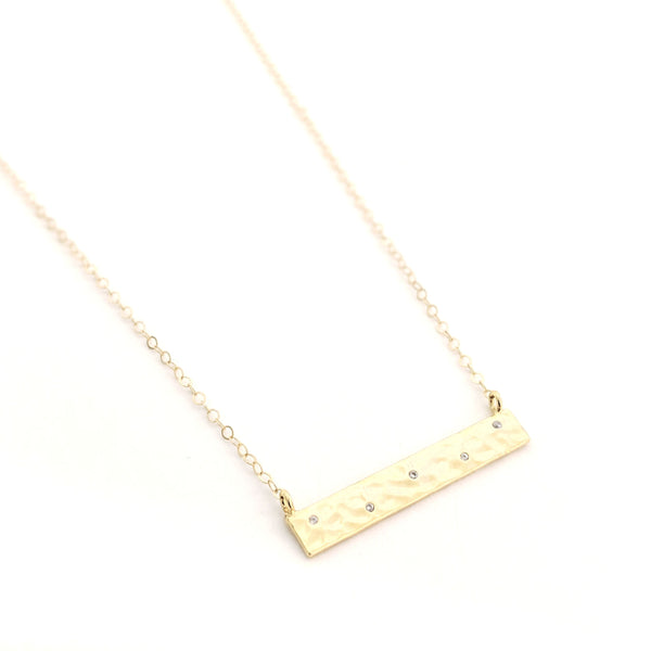 Staggered Crystal Dot Bar Necklace
