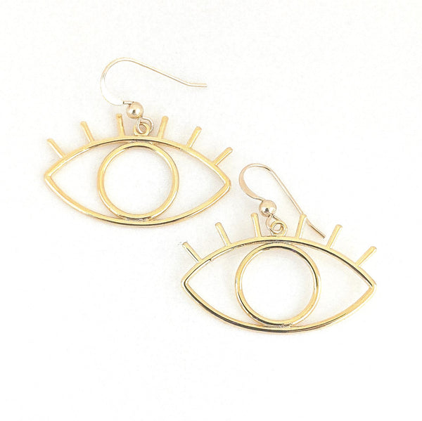 Earrings - Gold Eye - Actual Size