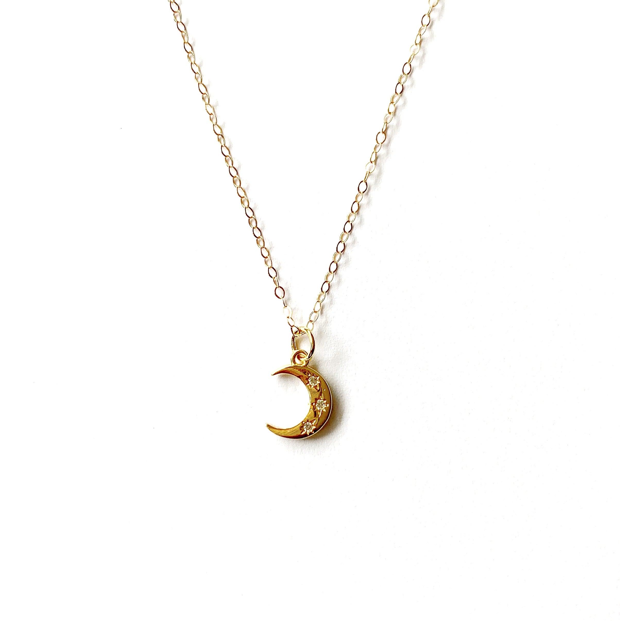 Triple Pave Moon Necklace