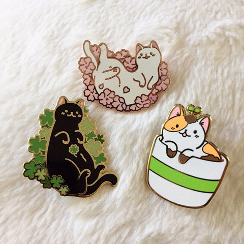 Sakura Kitty Pin, Clover Cat Pin, Sprout Kitty Pin